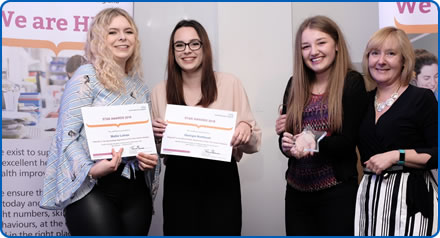 Elgar One Healthcare Support Workers Mollie and Georgie receive their finalist certificates