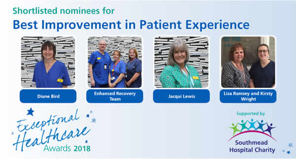 The shortlisted nominees in the Best Patient Experience category in the North Bristol NHS Trust Exceptional Healthcare Awards