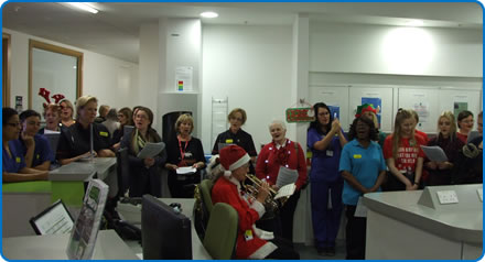 Carol singers on the wards at Southmead Hospital