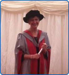 Southmead Hospital research midwife Cathy Winter with her honorary degree
