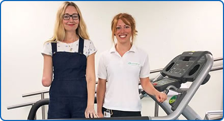 Cerrie Burnell with prosthetist Katy Leslie at Bristol Centre for Enablement