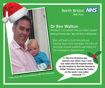 Trauma Clinical Lead Dr Ben Walton will be among North Bristol NHS Trust staff working on Christmas Day