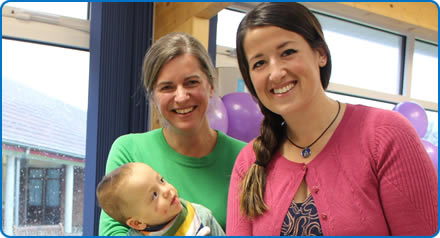 Neonatologist Dr Claire Rose with Emily Spillman and her son Austin at the celebrations to mark five years of the Milk Bank at Southmead Hospital