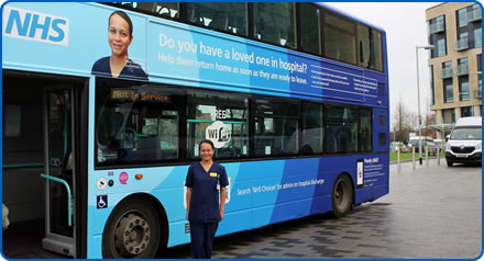 Ward Manager Emerline Albano with Staywell bus