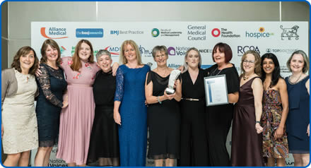 Staff from North Bristol NHS Trust receive their BMJ award for their work on improving End of Life Care