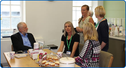 Labour leader Jeremy Corbyn met staff, patients and volunteers at the NGS Macmillan Wellbeing Centre Southmead Hospital Bristol