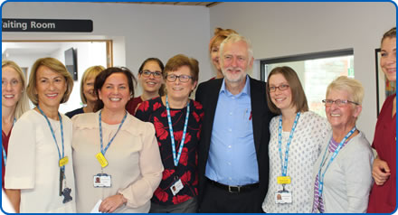 Labour leader Jeremy Corbyn meets staff from the Bristol Breast Care Centre during a visit to Southmead Hospital Bristol