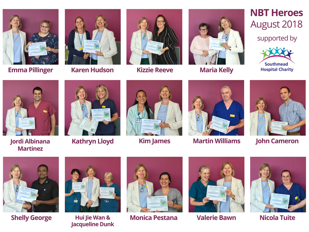 Winners of the August 2018 NBT Hero Awards