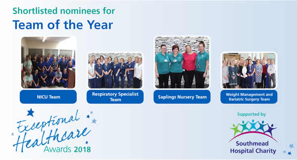 The shortlisted nominees in North Bristol NHS Trust's Team of the Year category of the Exceptional Healthcare Awards