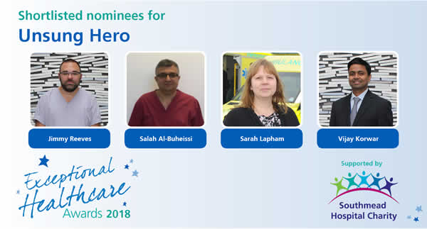 The shortlisted nominees in North Bristol NHS Trust's Unsung Hero category of the Exceptional Healthcare Awards