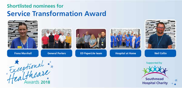 The shortlisted nominees in the Service Transformation category of North Bristol NHS Trust's Exceptional Healthcare Awards