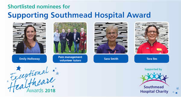 The shortlisted nominees in North Bristol NHS Trust's Supporting Southmead category of the Exceptional Healthcare Awards