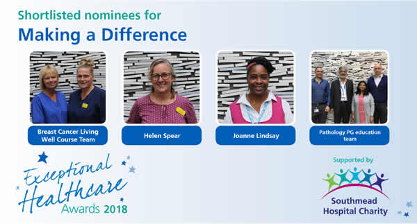 The shortlisted nominees in the Making a Difference category of the North Bristol NHS Trust Exceptional Healthcare Awards