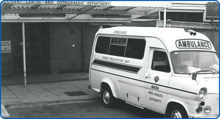 The first mobile resuscitation unit in the UK at its home outside the Frenchay Hospital Emergency Department