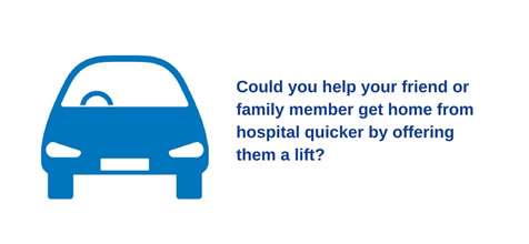 Help us to get you home quicker; ask your clinician about aftercare, plan your journey home, and involve your friends and family