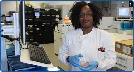 Mercy is a biomedical scientist in microbiology testing samples for bacterial diseases and parasites