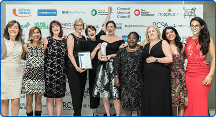 Staff from WEAHSN, including North Bristol NHS Trust staff, receive their BMJ award for their work on NEWS