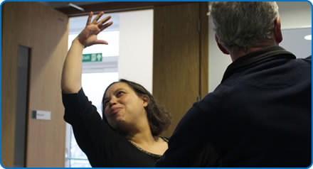 Lerato Dunn leads the Dance for Parkinson's sessions at Southmead Hospital Bristol