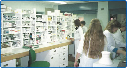The Southmead Hospital pharmacy in the 1980s