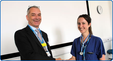 Medical director Chris Burton with junior doctor Nicola Kelly