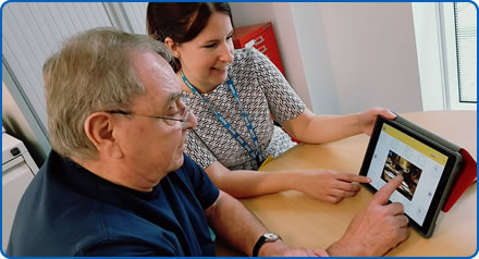 Patient Carl Willson and Speech and Language Therapist Katie Thomas