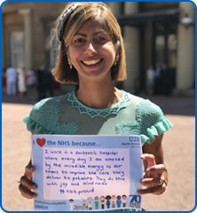 Seema Srivastava MBE taking the #WhyILove campaign to Buckingham Palace