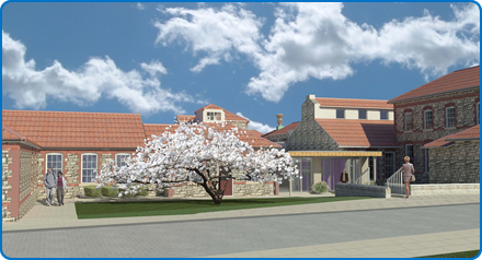Artist impression: Breast Care Centre & Macmillan Wellbeing Centre plans Cherrytree view.