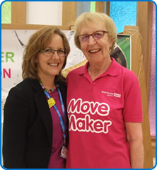 North Bristol NHS Trust Director of Nursing and Quality Sue Jones with Move Maker Jenny Beckingsale, who trained her in the early days of her nursing career