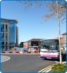 Bus outside Southmead Hospital